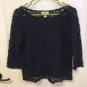 Loft lace navy 3/4 sleeve blouse size medium